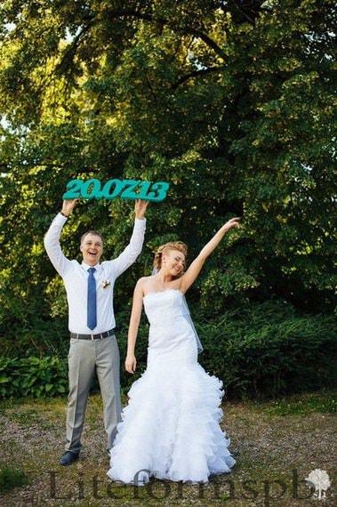 дата свадьбы из пенопласта или дерева от компании Легкие Формы