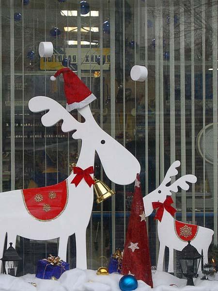 новогодние украшения из пенопласта для витрин